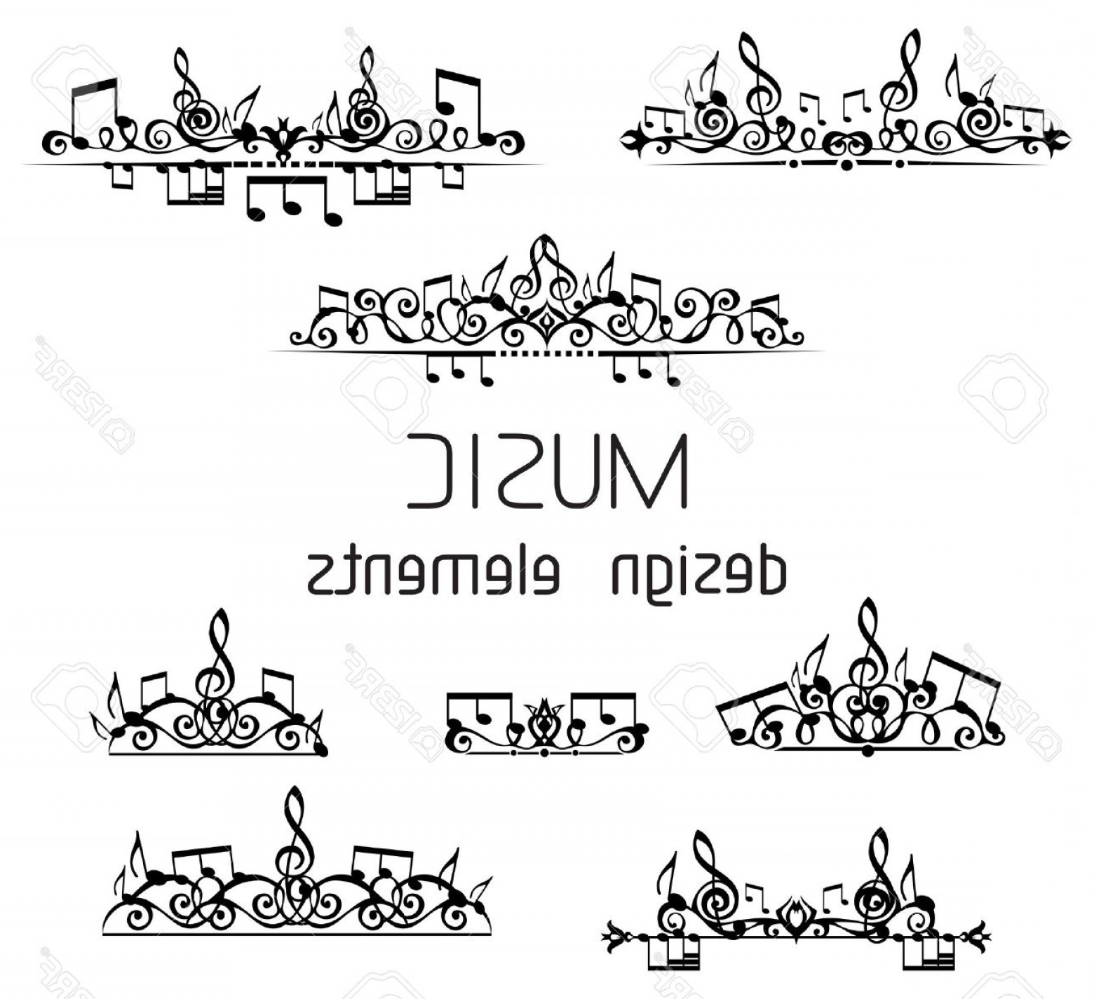 Flourish Music Note Silhouette Vector: Photostock Vector Page Dividers Calligraphic Design Elements And Page Decoration With Music Notes And Treble Clefs Iso