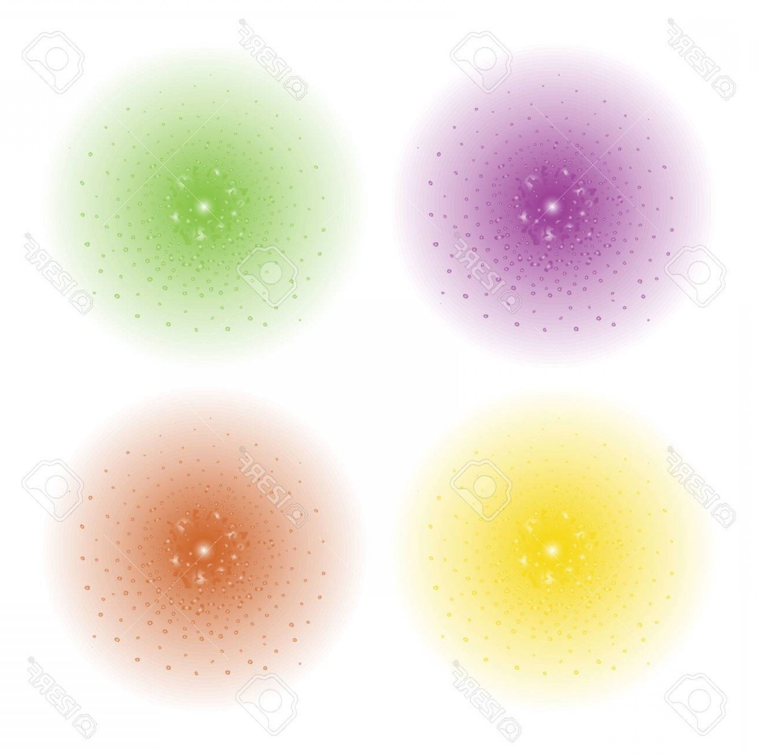 Purple Green And White Vector: Photostock Vector Paint Spray Beam Effect Purple Green Yellow Orange Color Splashes Spheres Vector Clip Art Illustrati