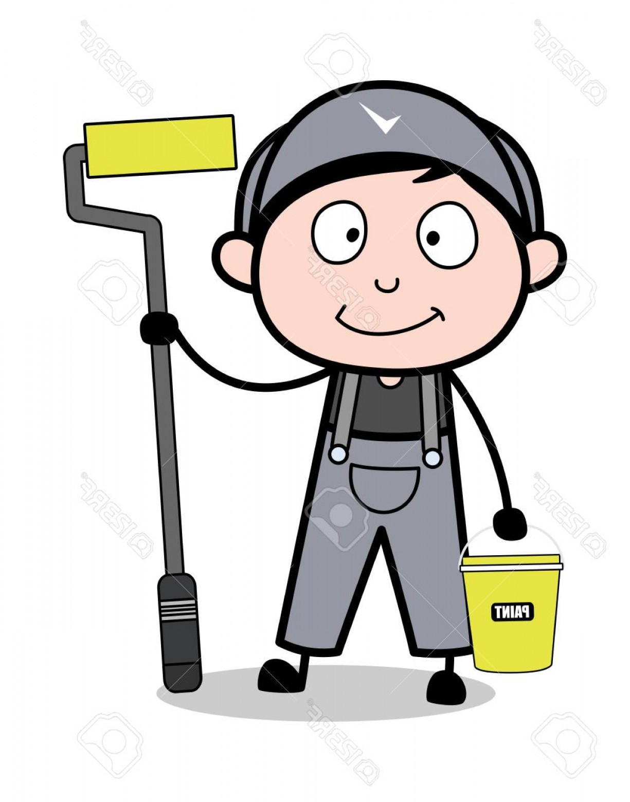 Worker Vector: Photostock Vector Painter With Equipments Retro Repairman Cartoon Worker Vector Illustration