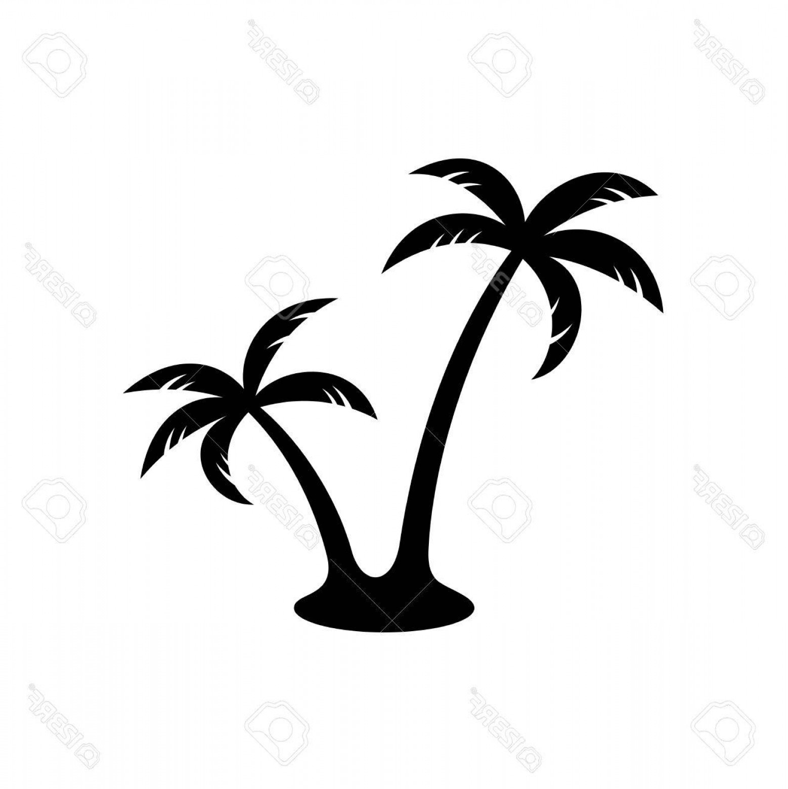 Simple Palm Tree Vector: Photostock Vector Palm Trees Silhouette Simple Black Two Palm Trees With One Foot