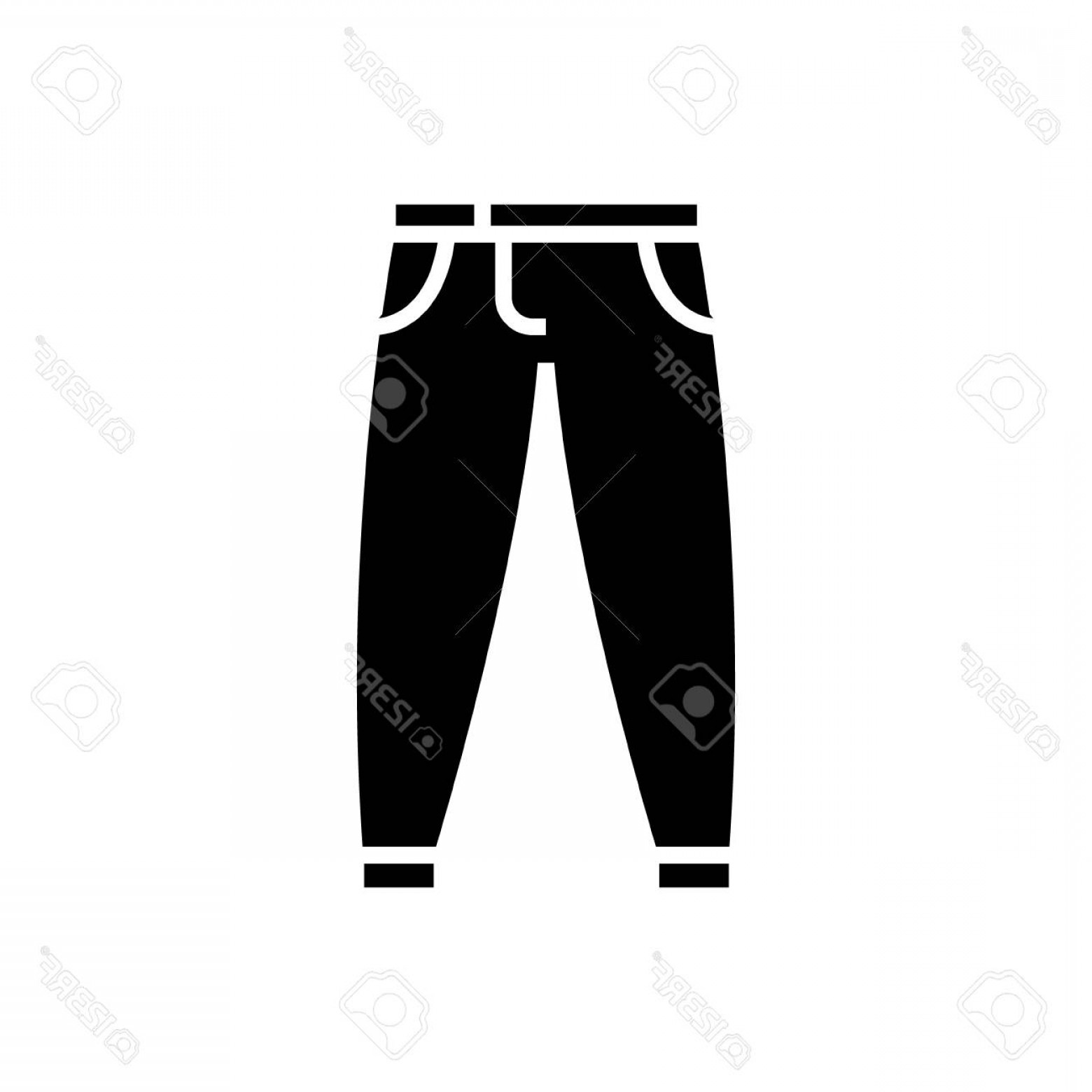 Vector Black Jeans: Photostock Vector Pants Icon In Black Illustration