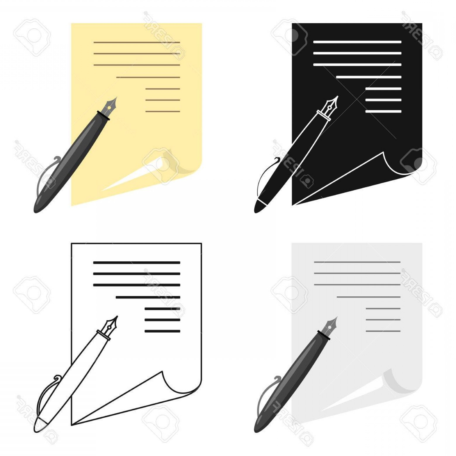 Paper And Pencil Icon Vector: Photostock Vector Paper And Pen Icon Cartoon Single Education Icon From The Big School University Cartoon