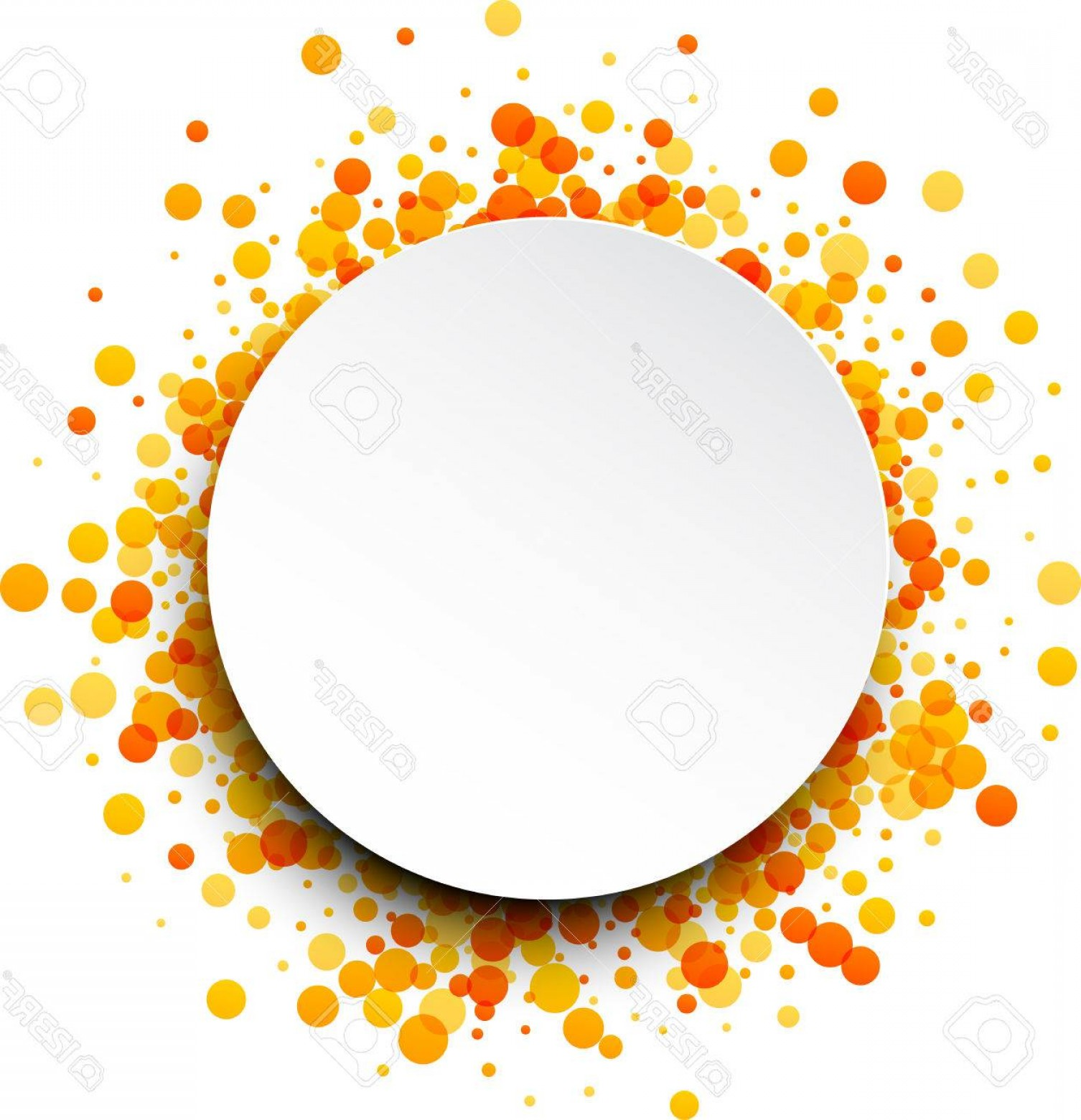 White Orange Vector: Photostock Vector Paper Round White Background With Orange And Yellow Drops Vector Illustration