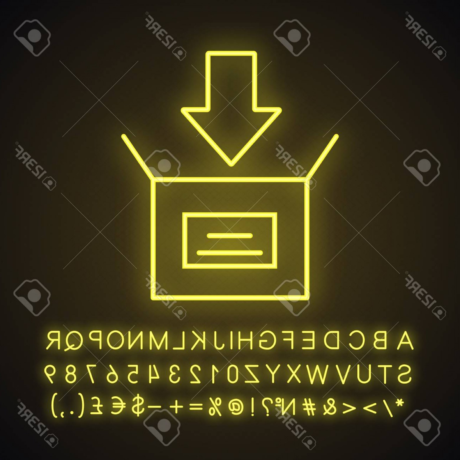Downloadable Vector Cross: Photostock Vector Parcel Packing Neon Light Icon Open Box With Down Arrow Downloading Glowing Sign With Alphabet Numbe