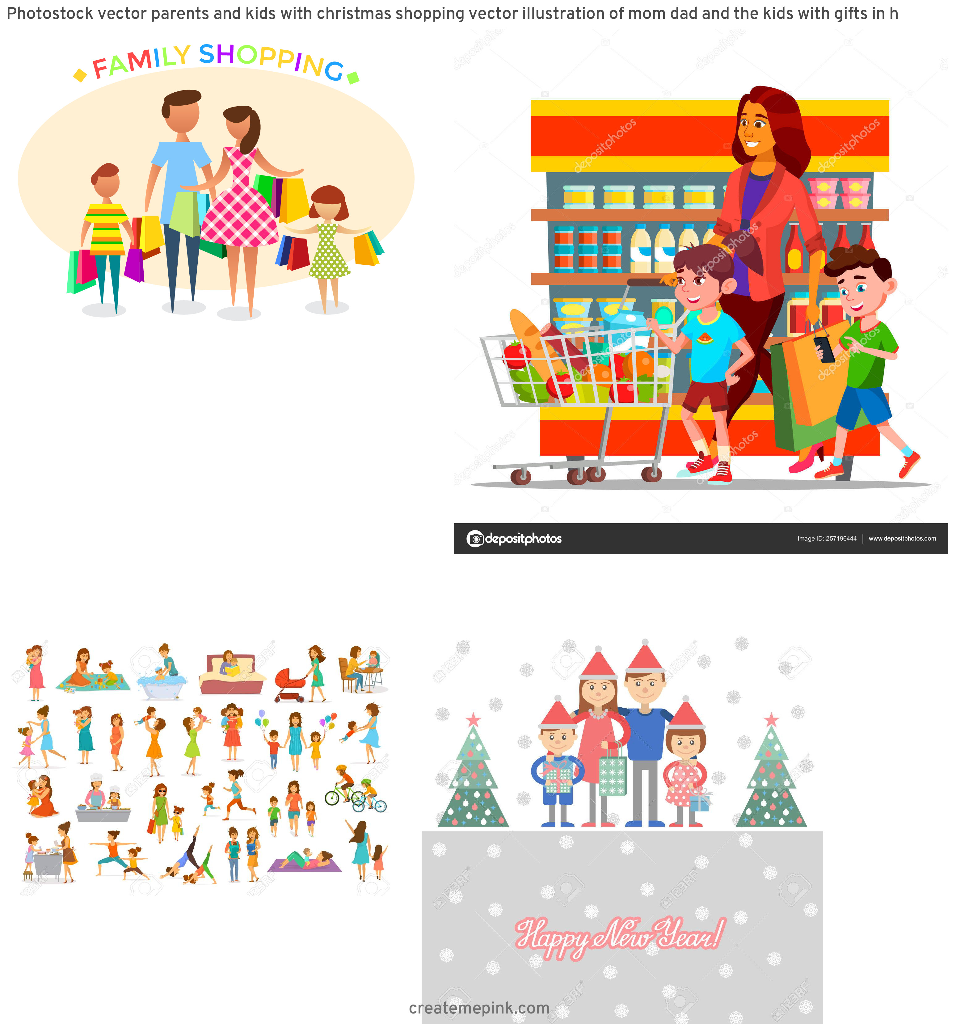 Shopping Vector Of Mom: Photostock Vector Parents And Kids With Christmas Shopping Vector Illustration Of Mom Dad And The Kids With Gifts In H