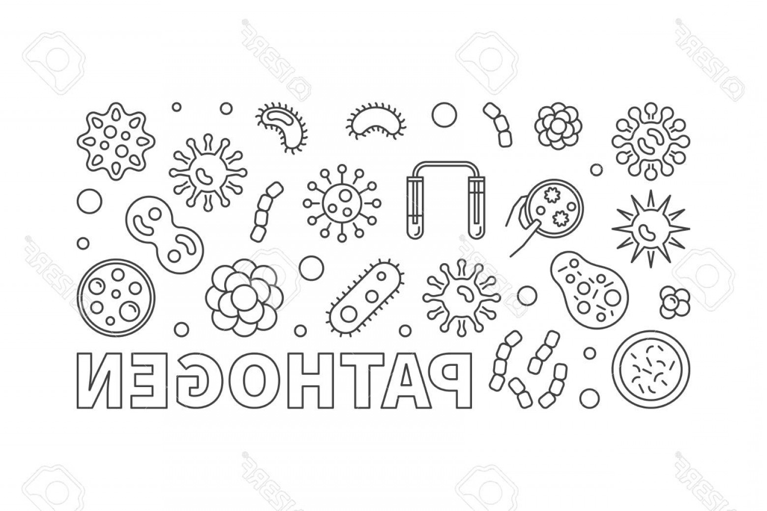 Vector Pathogen: Photostock Vector Pathogen Vector Concept Line Horizontal Illustration Or Banner