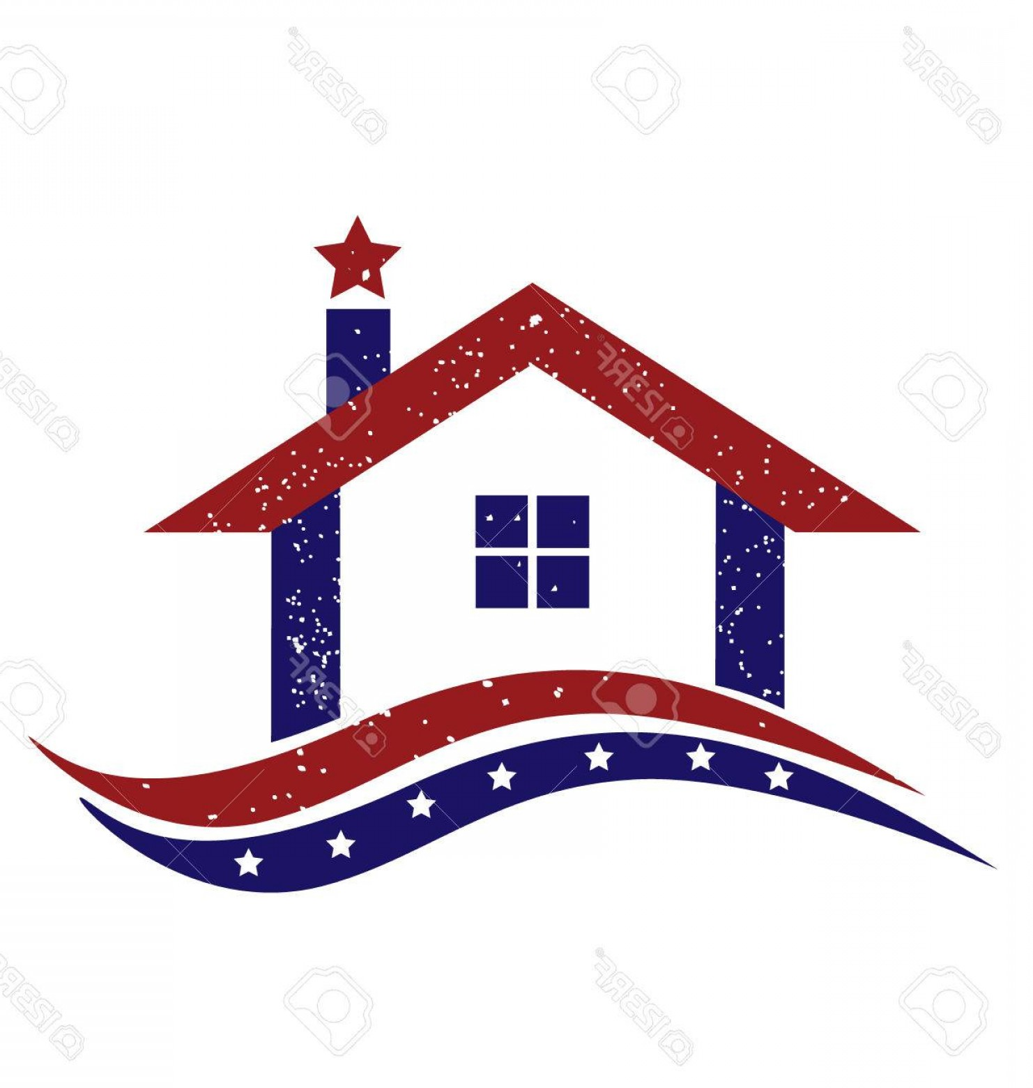 House Clip Art Vector: Photostock Vector Patriotic House With Usa Flag Icon Illustration Vector Image Design