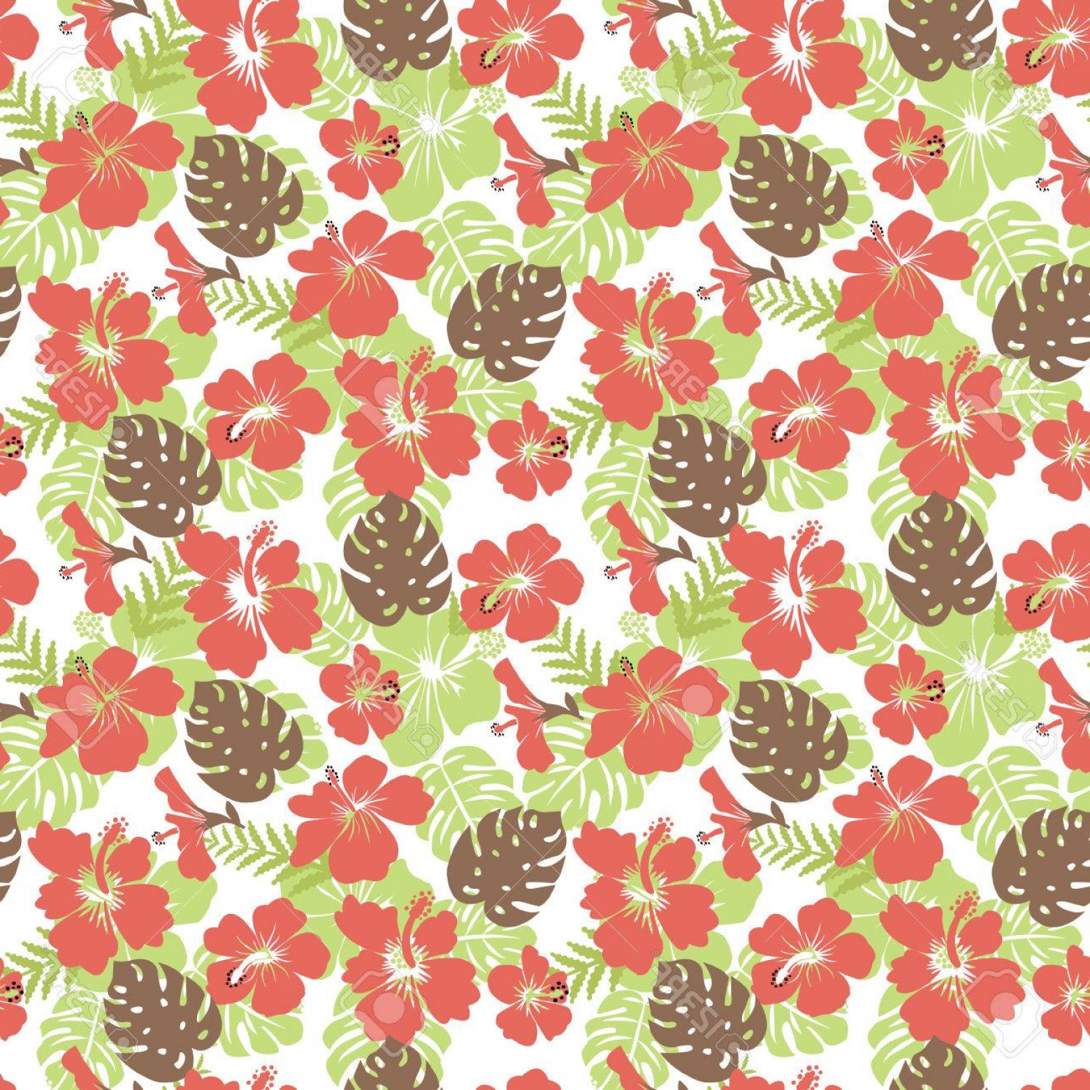 Hawaiian Pattern Vector: Photostock Vector Pattern Of Tropical Leaves And Flowers Hibiscus Flower Hawaii Summer Background Vector Illustration