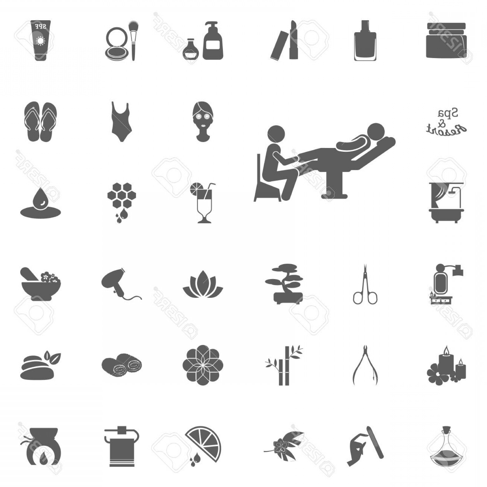 33 Rifle Vector: Photostock Vector Pedicure Icon Spa And Recreation Vector Set Icons Set Of Spa Icons