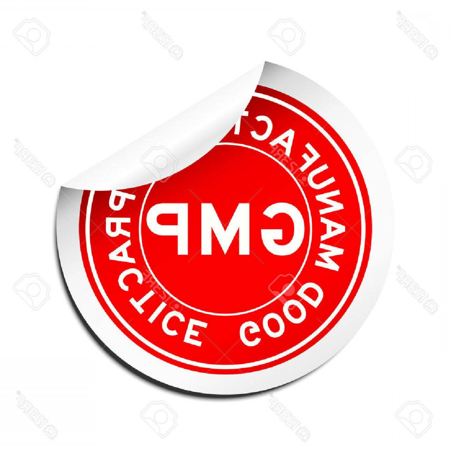 GMP Logo Vector: Photostock Vector Peel Red Gmp Good Manufacturing Practice Round Sticker