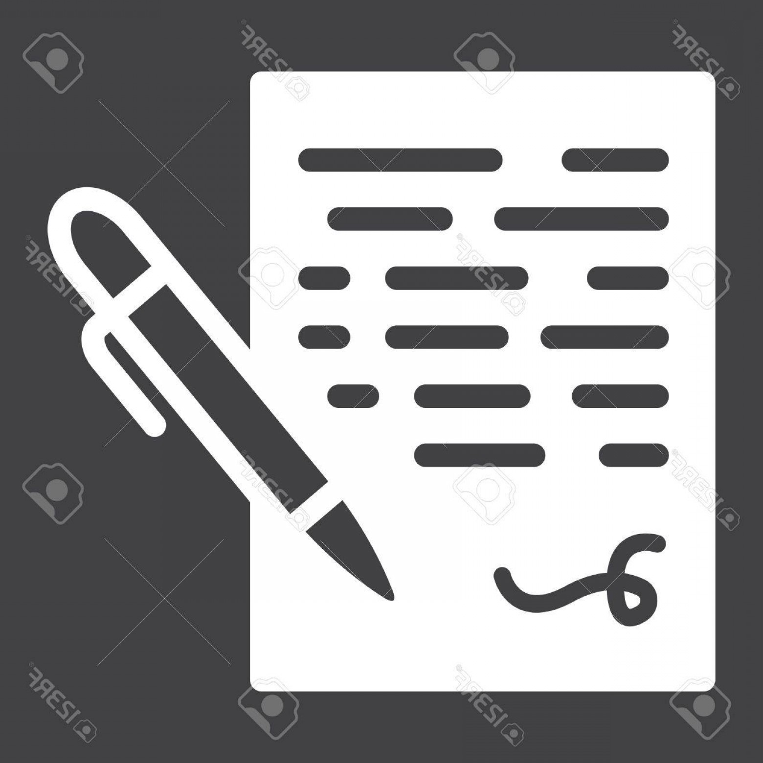 Ways To Write Vector BA: Photostock Vector Pen Signing Solid Icon Business Contract And Signature Vector Graphics A Glyph Pattern On A Black Ba
