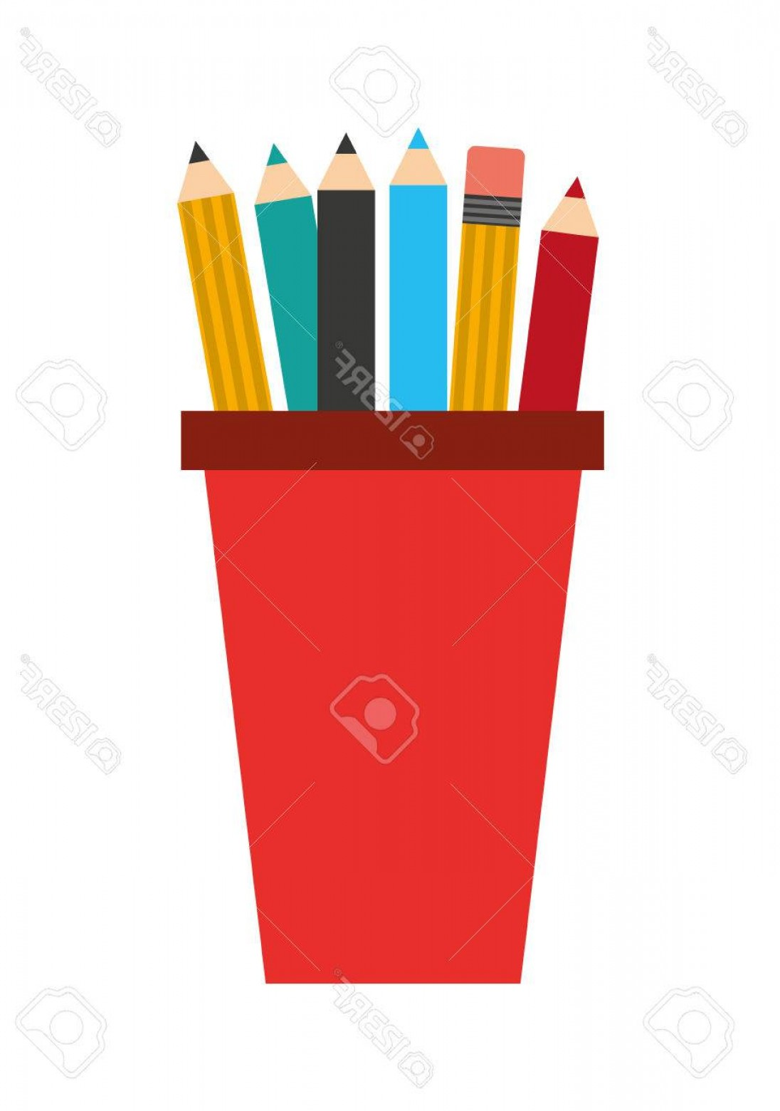 Vector Pencil Holder: Photostock Vector Pencil Holders Isolated Icon Design Vector Illustration Graphic