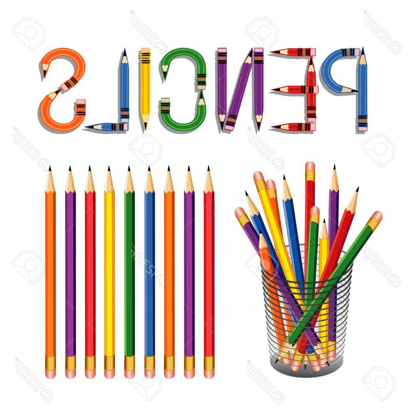 Ways To Write Vector BA: Photostock Vector Pencils With Erasers In A Desk Organizer For Home Office Back To School Projects With Pencil Ding Ba