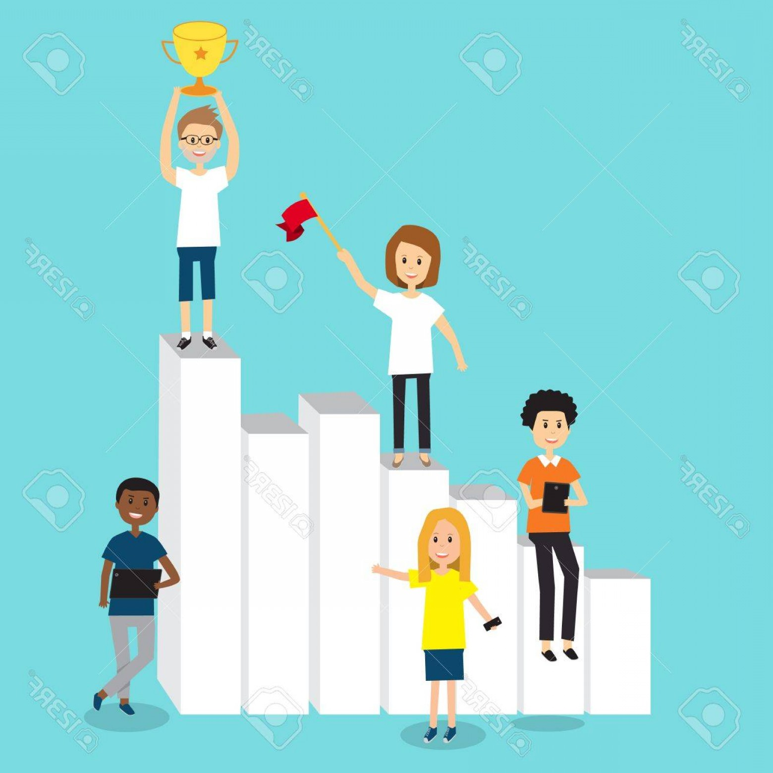 Growth Vector People: Photostock Vector People In Generation Z Team For Growth And Success In Business Chart Illustration Eps