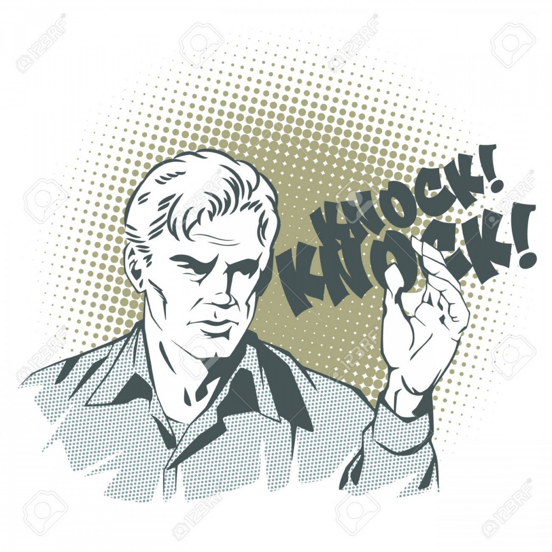 White Retro Vector People: Photostock Vector People In Retro Style Pop Art And Vintage Advertising A Man Knocks On The Door