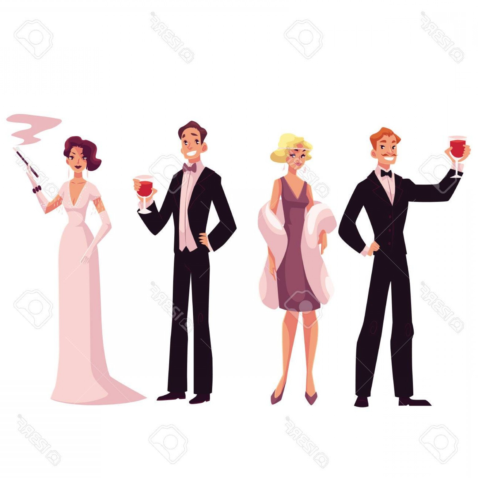 White Retro Vector People: Photostock Vector People In S Style Cocktail Dresses At Vintage Party Cartoon Vector Illustration Isolated On Whit