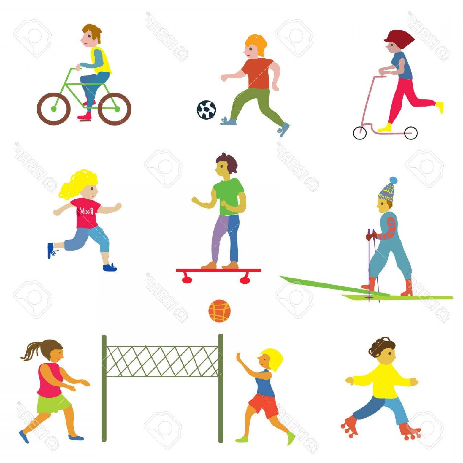 Vector People Free Clip Art: Photostock Vector People Making Different Sports Funny Design Vector Illustrations