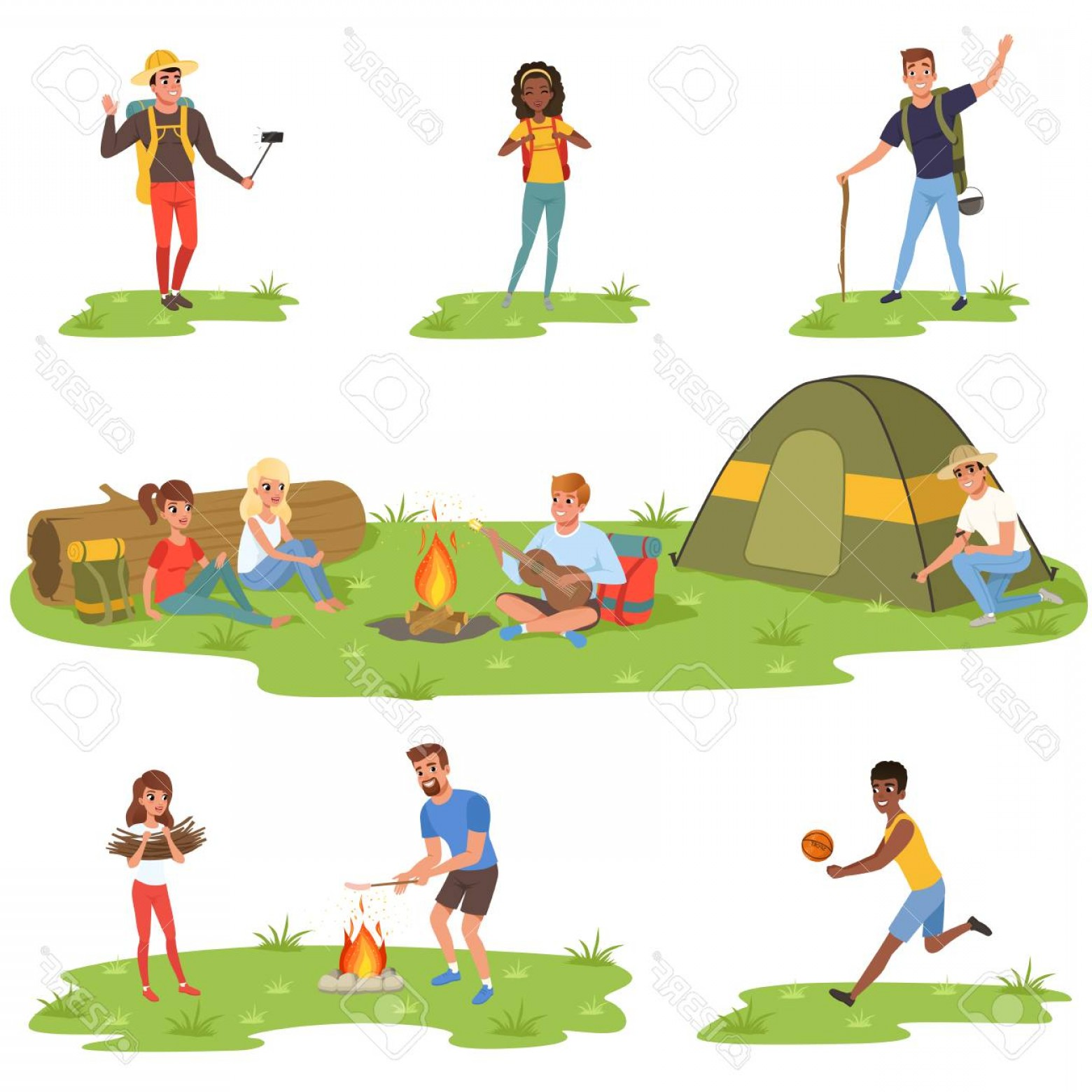 Vector People Free Clip Art: Photostock Vector People On A Camp Set Tourists Traveling Camping And Relaxing Vector Illustrations