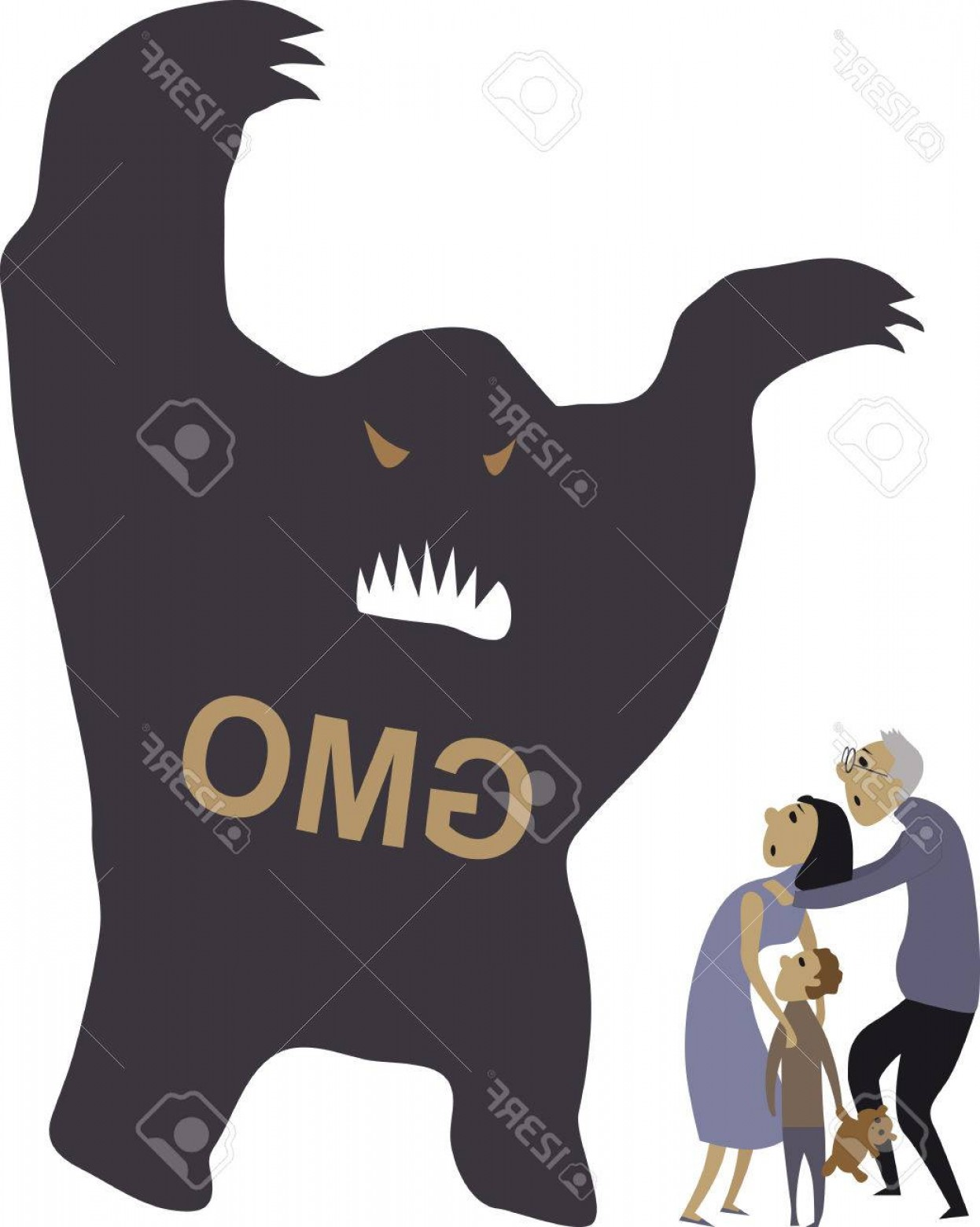 Vector Organisms On A Person: Photostock Vector People Scared Of A Monster Representing Genetically Modified Organisms Vector Illustration