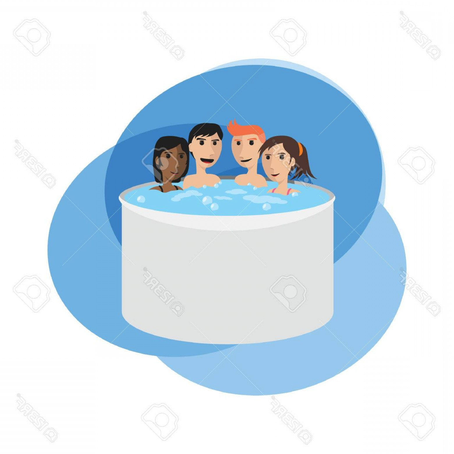 Vector Relaxing Hot Tub: Photostock Vector People Soaking In A Hot Tub