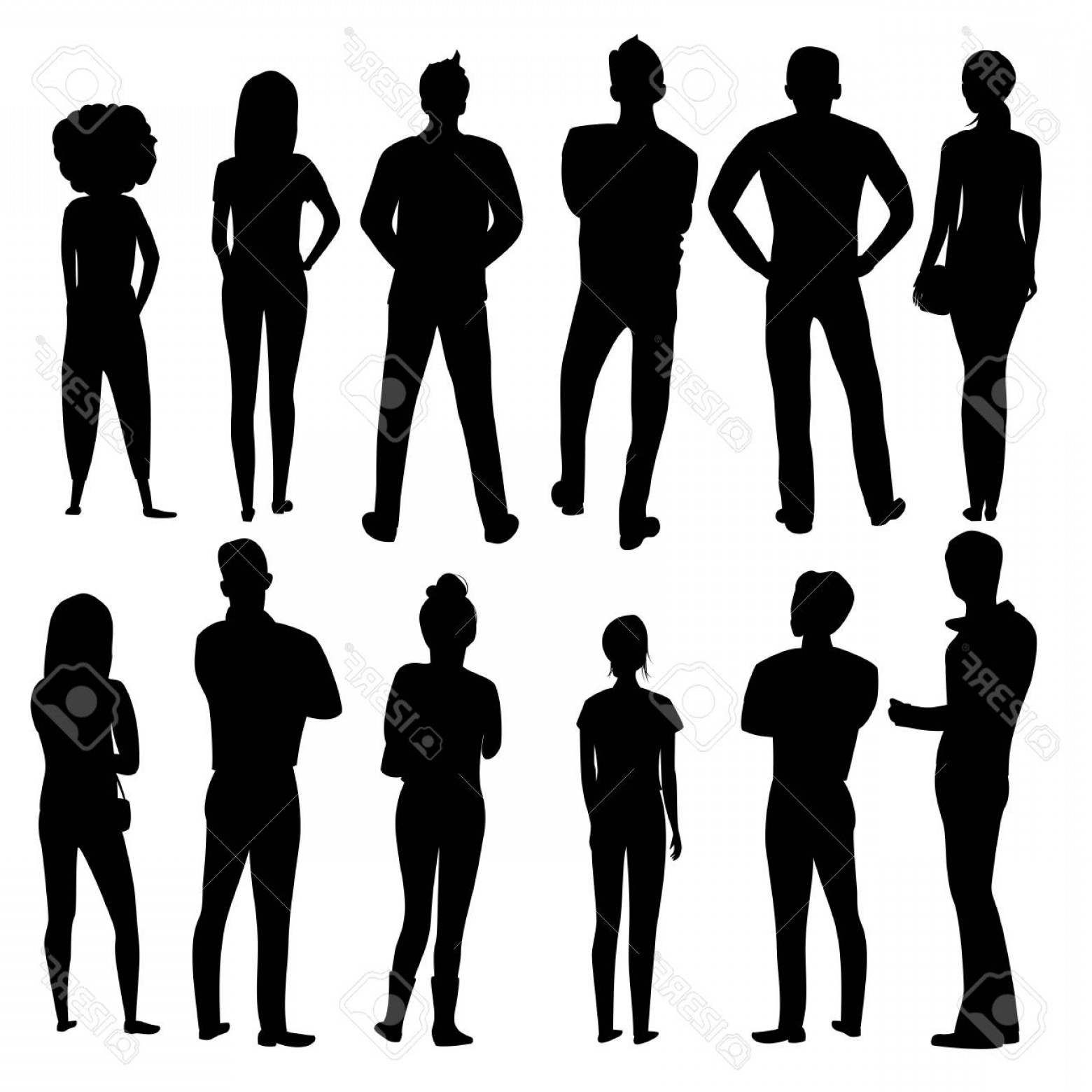 People Standing Vector: Photostock Vector People Stand Back Vector Silhouette Of A Group Of People Set