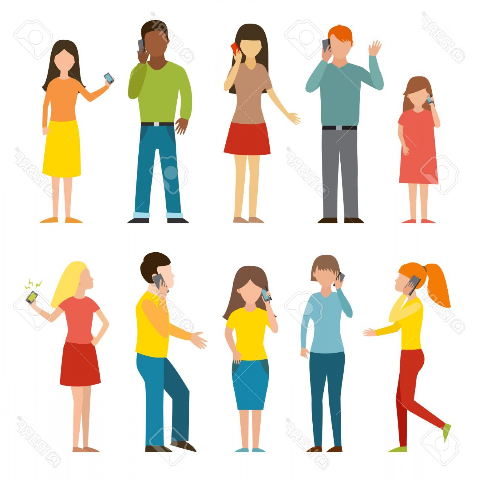 Vector People Free Clip Art: Photostock Vector People Talking Phone Character Set And Different People Talking Phone Telephone Communication People