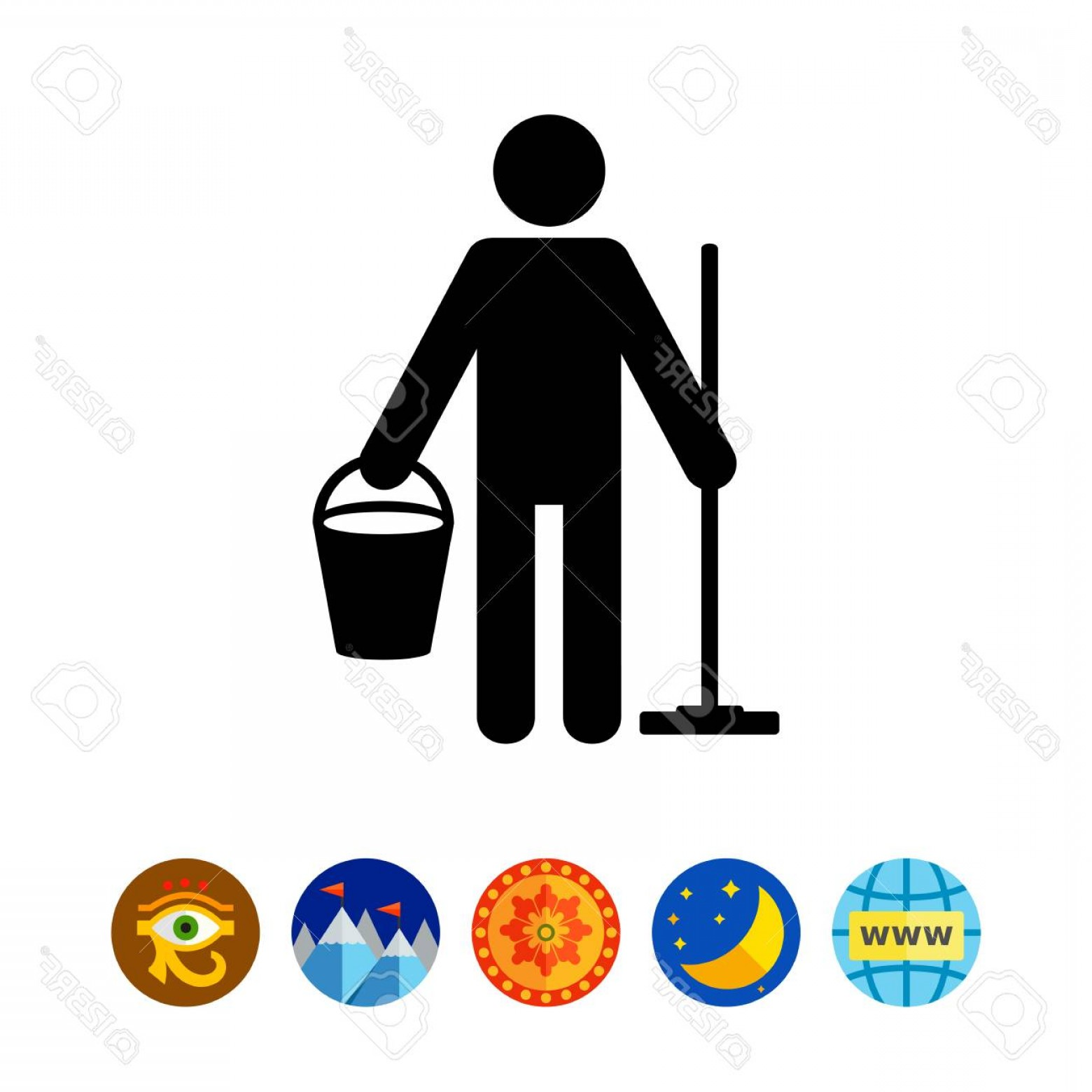 Cleaning Logo Vector Art: Photostock Vector Person With Bucket And Broom Cleaner Staff Washing Cleaning Services Concept Can Be Used For Cleanin