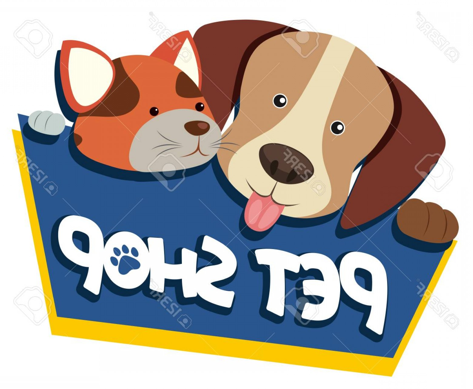 Dog And Cat Vector Illustration: Photostock Vector Pet Shop Sign With Cute Dog And Cat Vector Illustration
