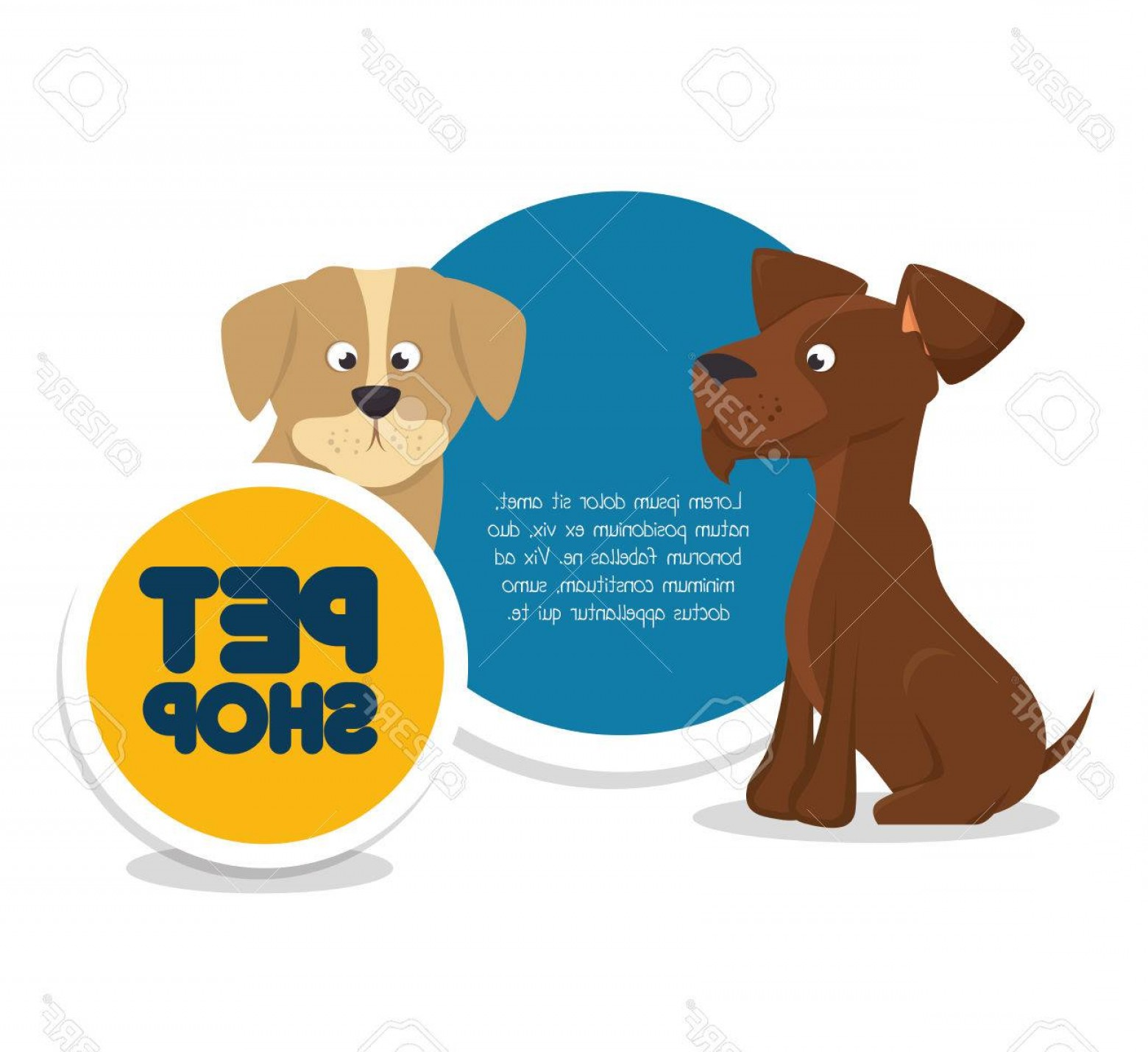 Dog And Cat Vector Illustration: Photostock Vector Pet Shop Template And Dog Cat Vector Illustration