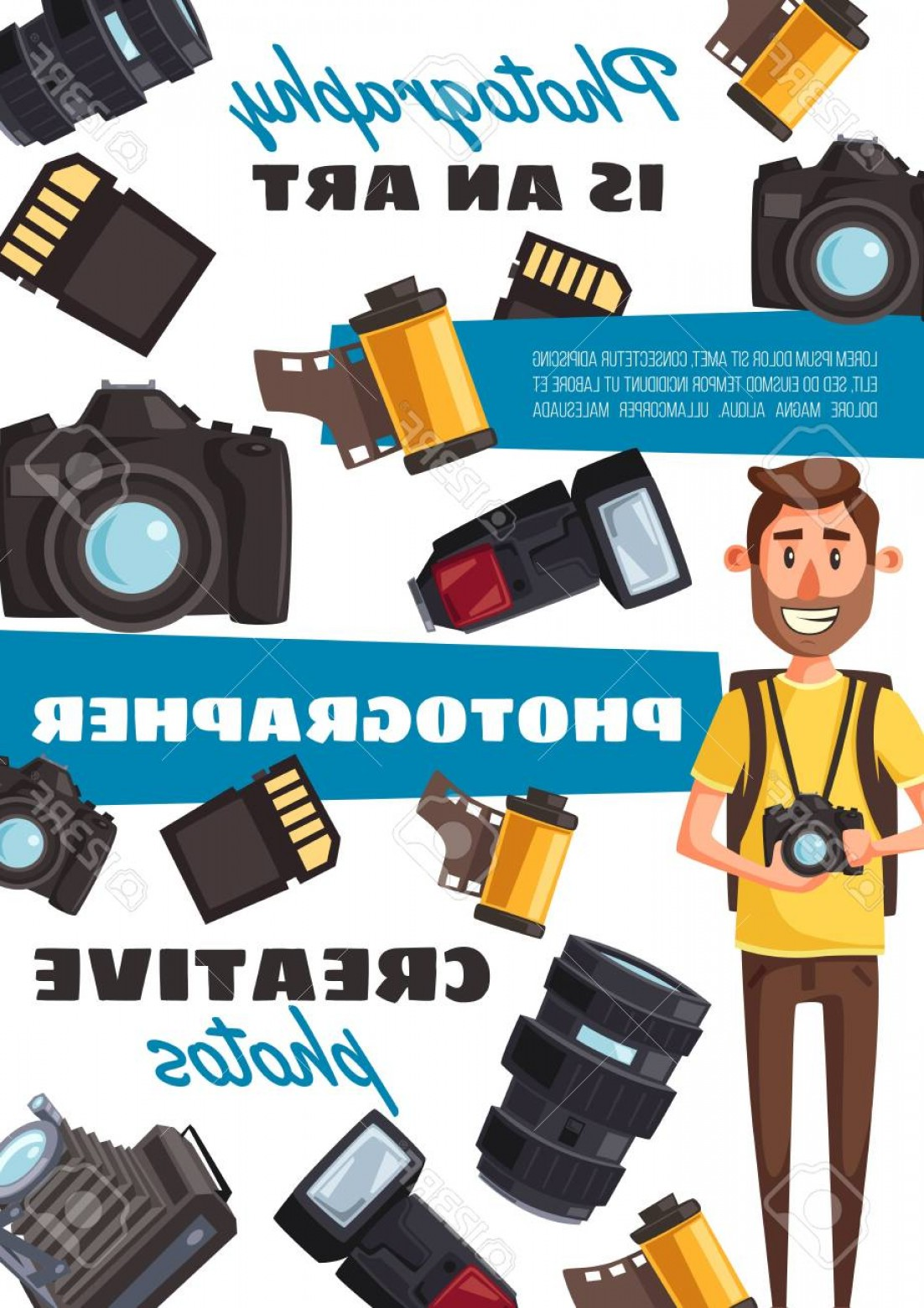 Hires Camera Lens Vector: Photostock Vector Photo Equipment And Photographer Vector Camera And Film Lens And Flashlight Memory Card Journalist P