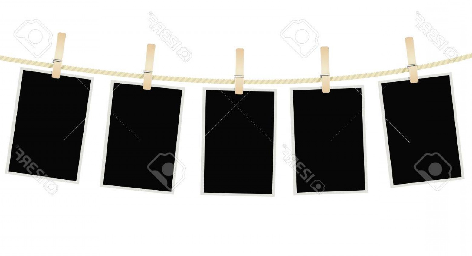Vector Clothes Pins: Photostock Vector Photo Frames Hanging On A Rope With Clothespins Vector
