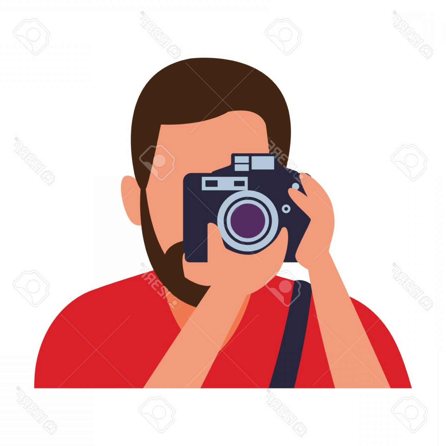 Hires Camera Lens Vector: Photostock Vector Photographer With Camera Profession Avatar Vector Illustration Graphic Design