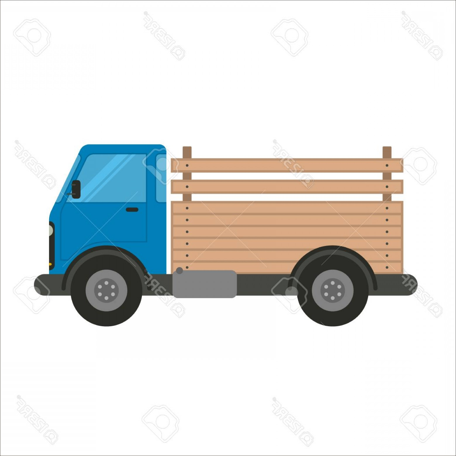 Packages On A Truck Vector: Photostock Vector Pick Up Truck Vector Flat Illustration Trucking And Delivery Car Side View Blue Truck Car With Woode