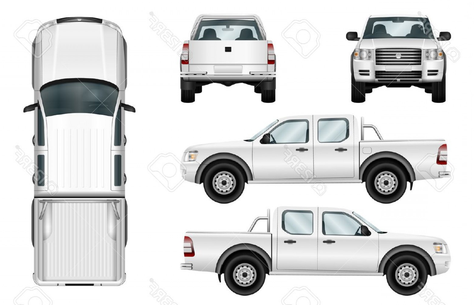 Vector Pick Up: Photostock Vector Pickup Truck Vector Template Isolated Car On White Background All Elements In Groups On Separate Lay