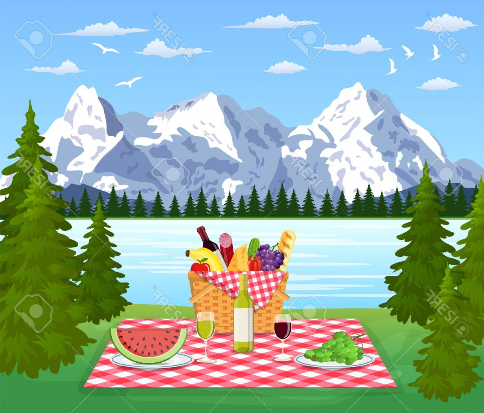 Picnic Vector Scenery: Photostock Vector Picnic In The Mountains Wicker Picnic Basket Full Of Products Vector Illustration In Flat Style