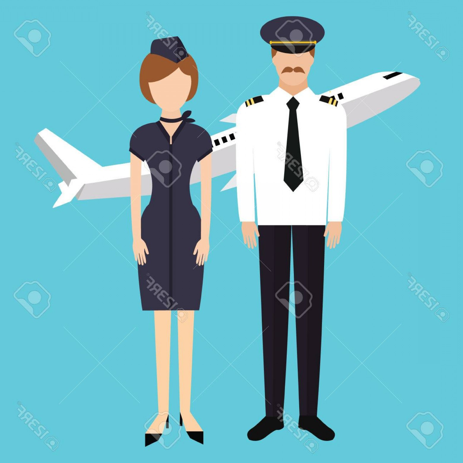 Vector Man Working In Cabin: Photostock Vector Pilot Stewardess Flight Attendance Cabin Crew In Uniform Plane Vector Character