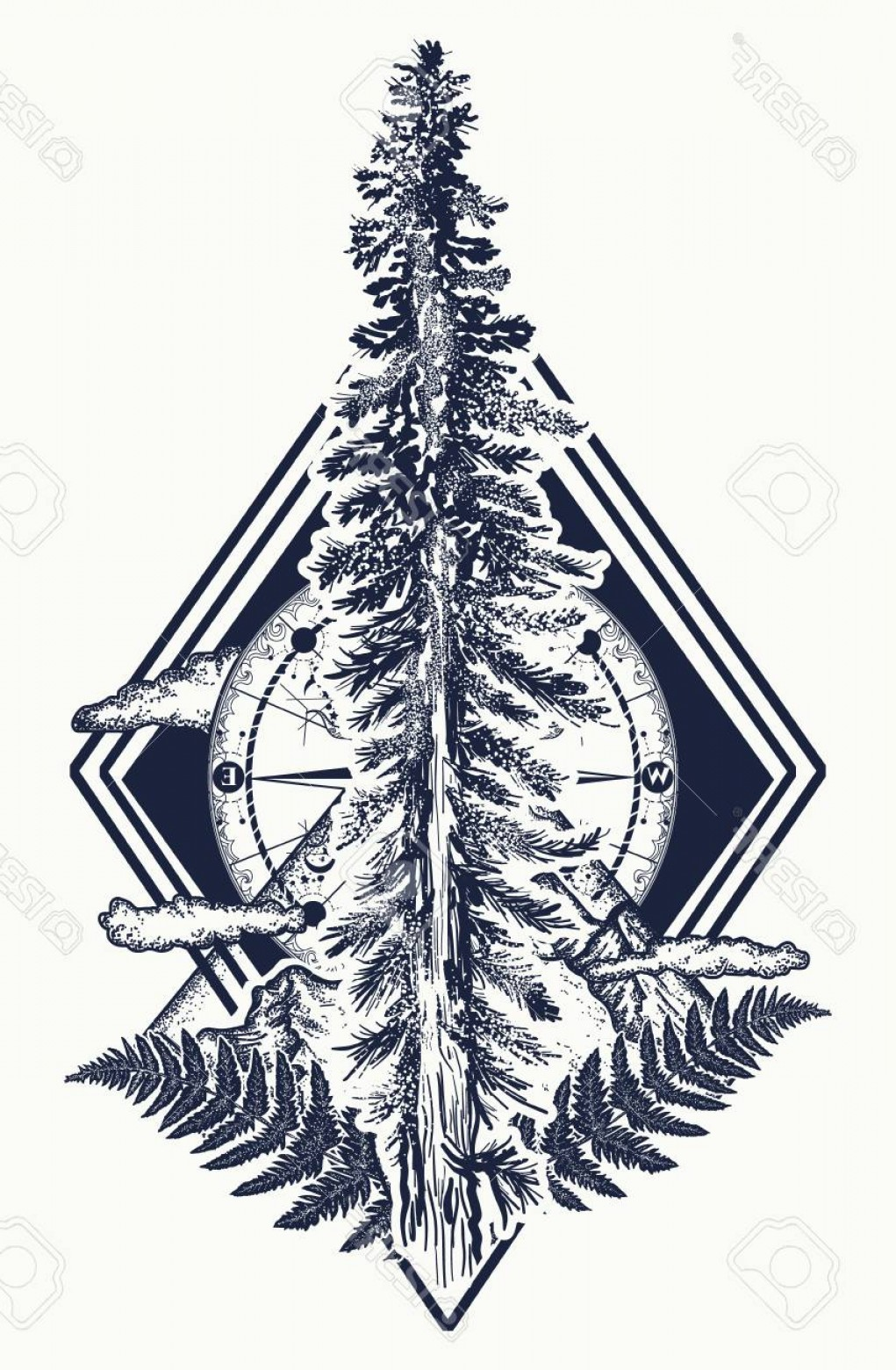 Vector Art Mountains Trees Colorado: Photostock Vector Pine Tree And Mountains Compass Tattoo Symbol Of Tourism Forest Rock Climbing Camping Fir Tree And C