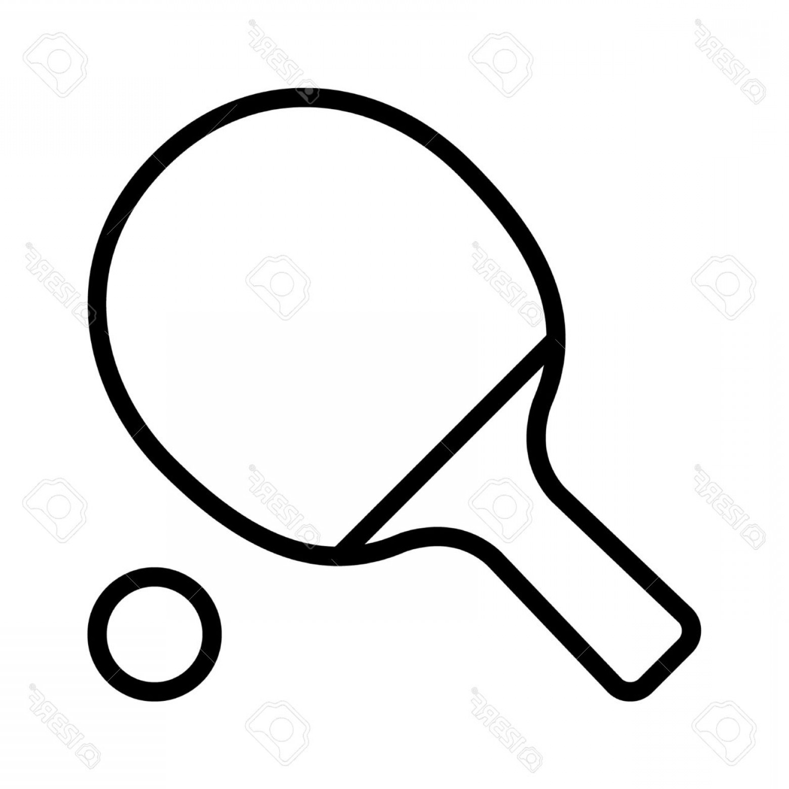 Paddle Vector Art: Photostock Vector Ping Pong Table Tennis Paddle With Ball Line Art Icon