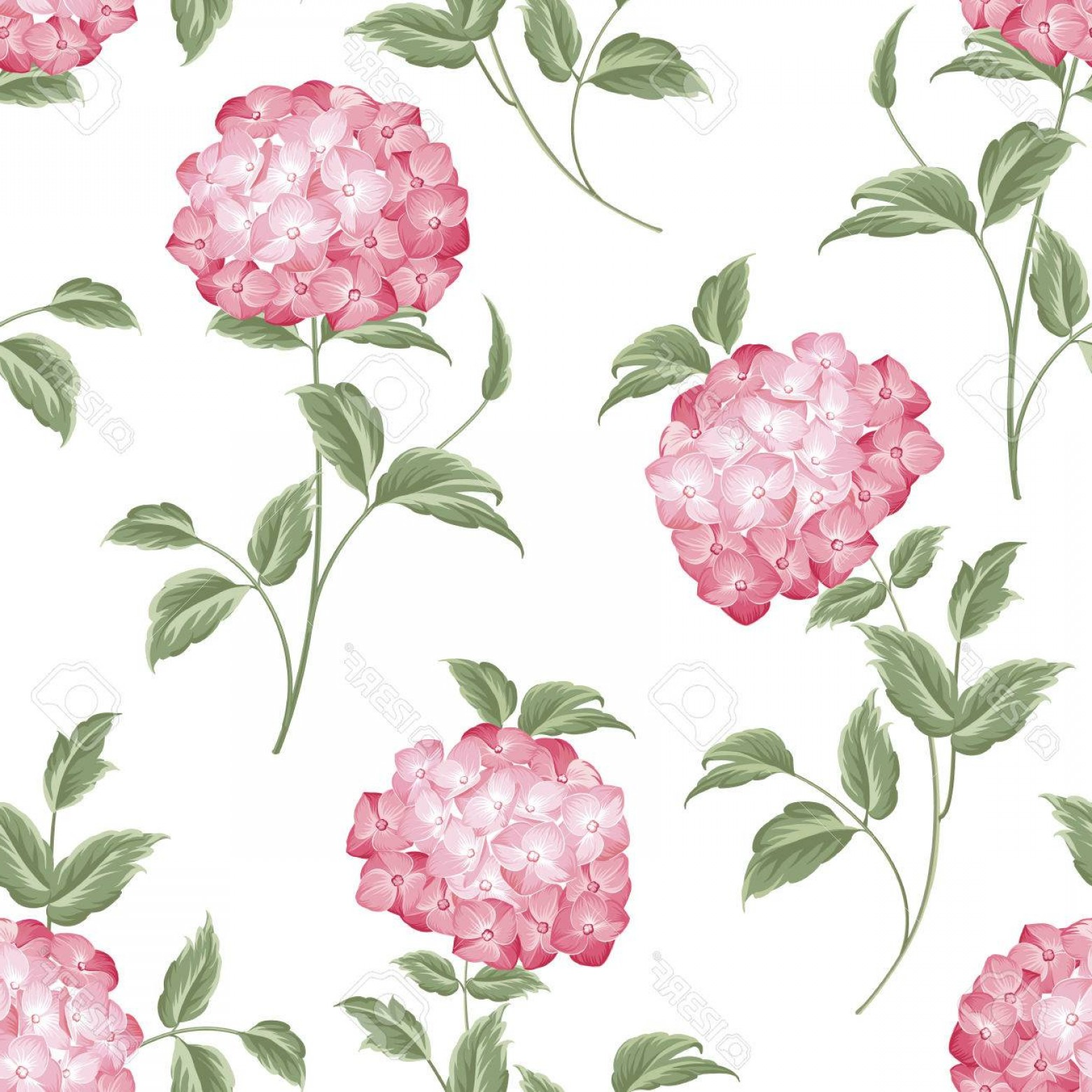Vector Mop Flower: Photostock Vector Pink Flowers Of Hydrangea On Seamless Background Mop Head Hydrangea Flower Fabric Pattern Vector Ill