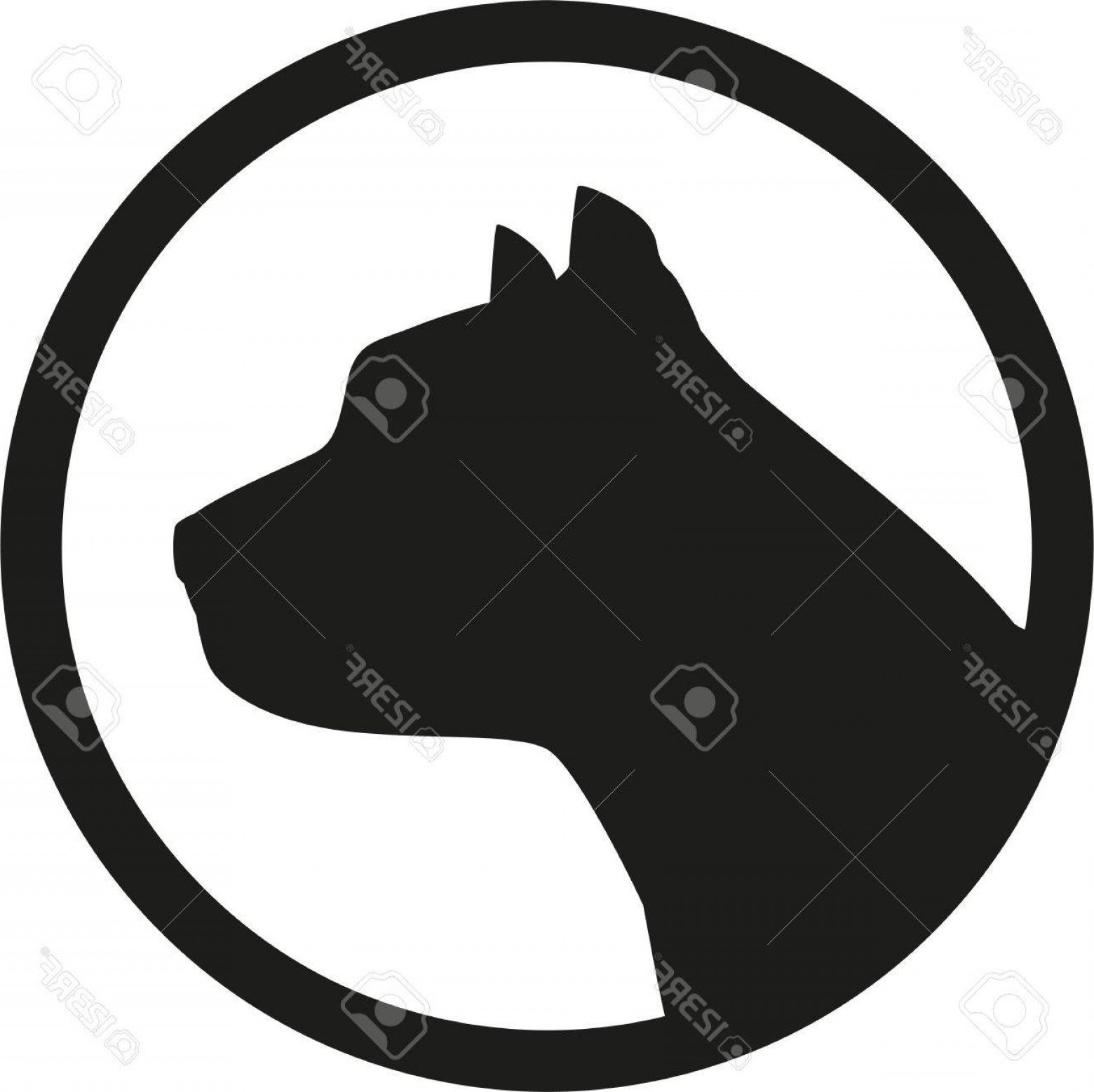 Pit Silhouette Vector: Photostock Vector Pit Bull Head Silhouette In Circle
