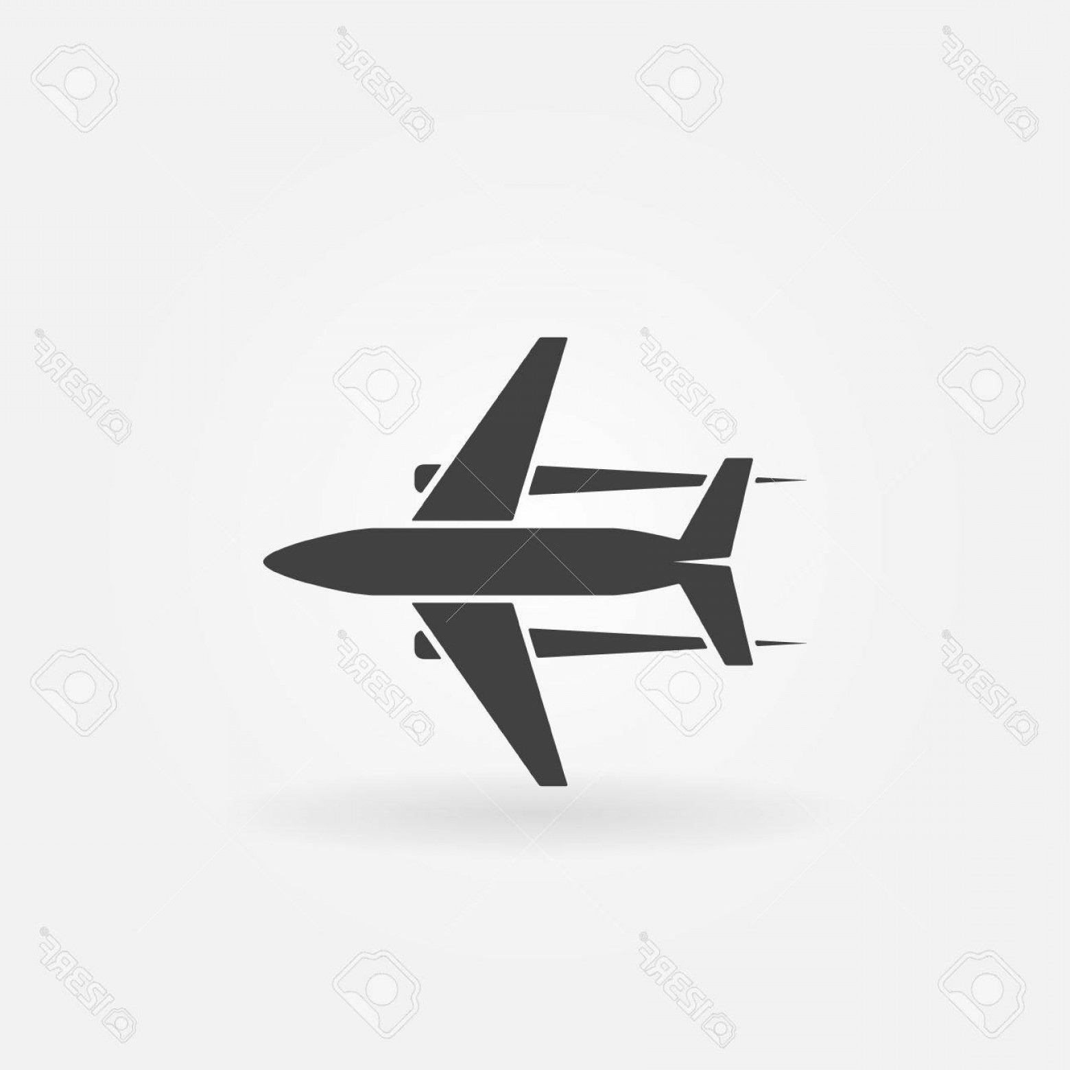 Vector Airplane Symbol: Photostock Vector Plane Icon Or Logo Vector Black Symbol Of Flying Airplane