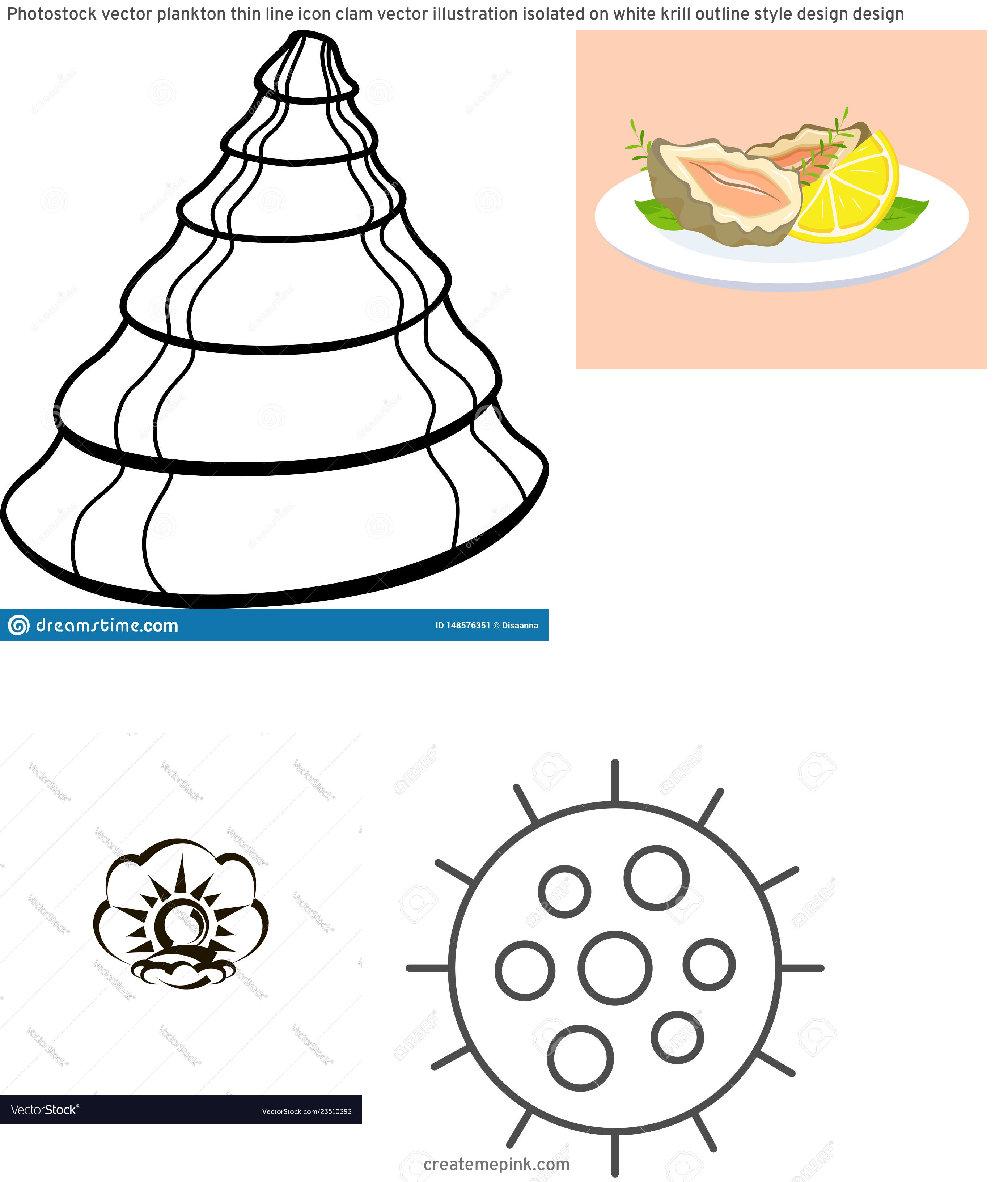 Clam Vector: Photostock Vector Plankton Thin Line Icon Clam Vector Illustration Isolated On White Krill Outline Style Design Design