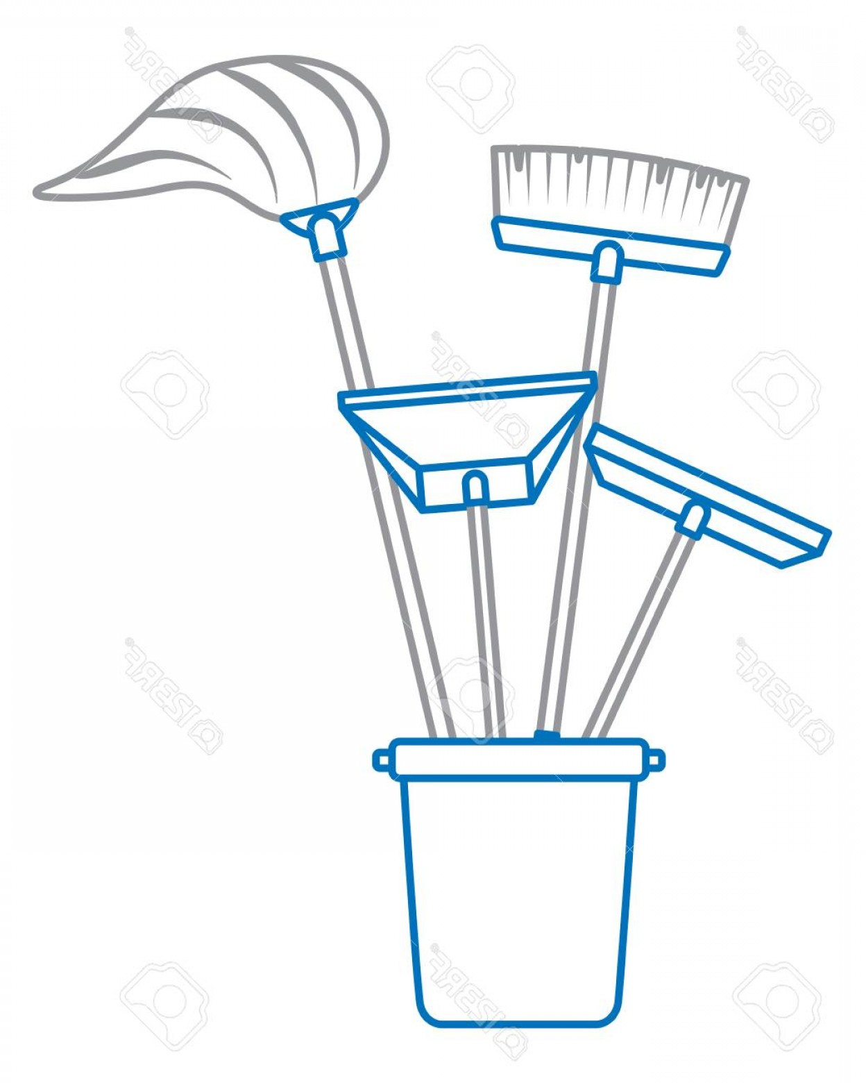 Janitorial Vector: Photostock Vector Plastic Bucket Full Of Janitor Tools Vector Illustration