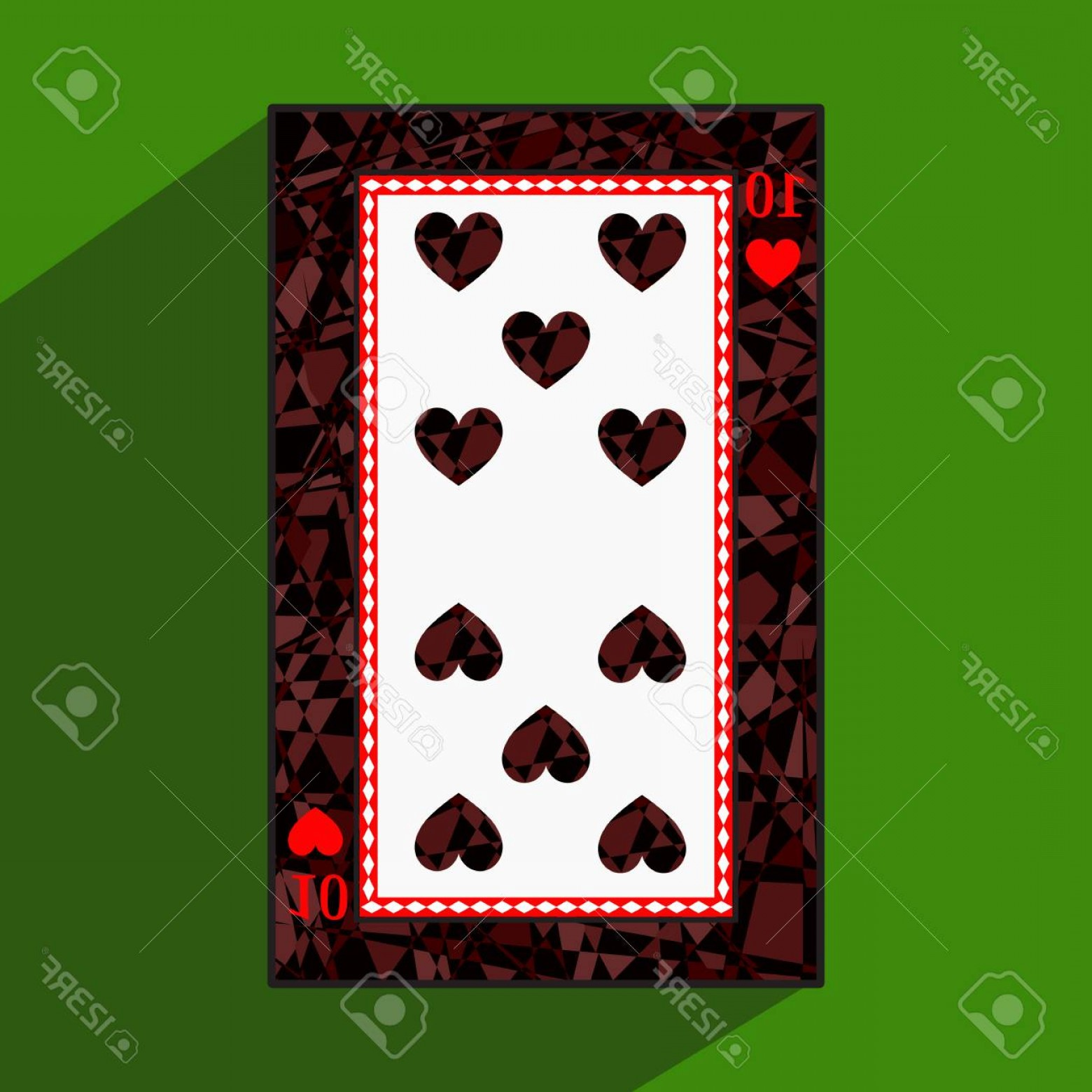 10 Playing Card Vector: Photostock Vector Playing Card The Icon Picture Is Easy Heart Ten About Dark Region Boundary A Vector Illustration