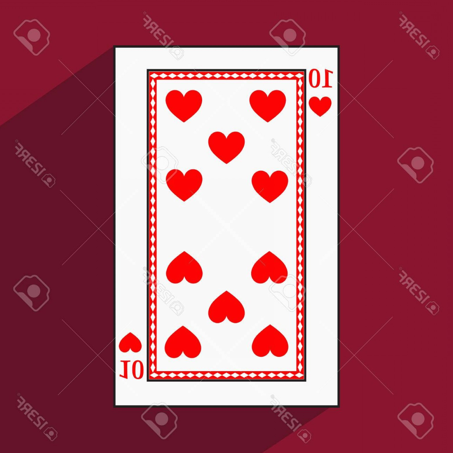 10 Playing Card Vector: Photostock Vector Playing Card The Icon Picture Is Easy Heart Ten With White A Basis Substrate A Vector Illustratio