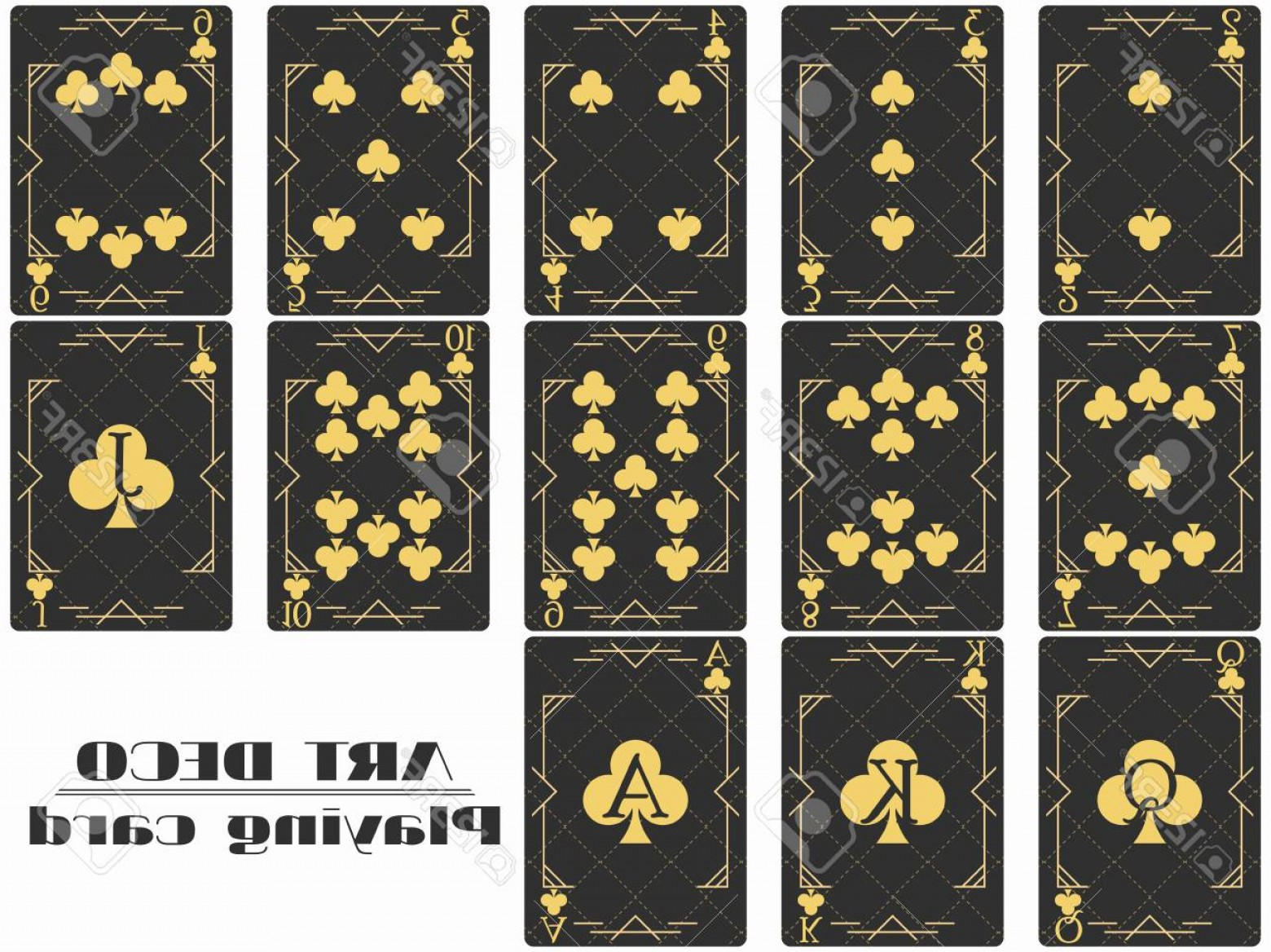 Playing Card Design Vector Illustration: Photostock Vector Playing Cards Club Suit Poker Cards Original Design Art Deco Style Vector Illustration