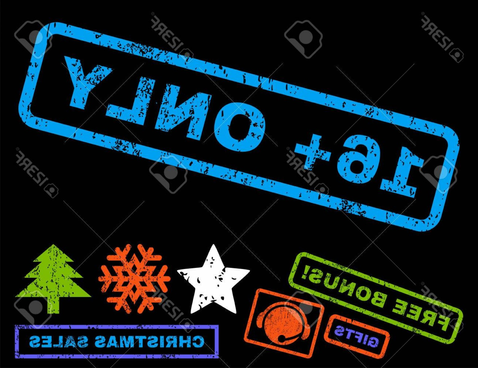 Vector Ban Plus: Photostock Vector Plus Only Text Rubber Seal Stamp Watermark With Bonus New Year Symbols Tag Inside Rectangular Ban