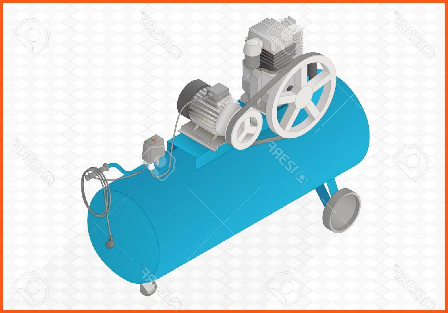 Vector Power On Board Compressor: Photostock Vector Pneumatic Compressor Isometric Perspective View Flat D Illustration