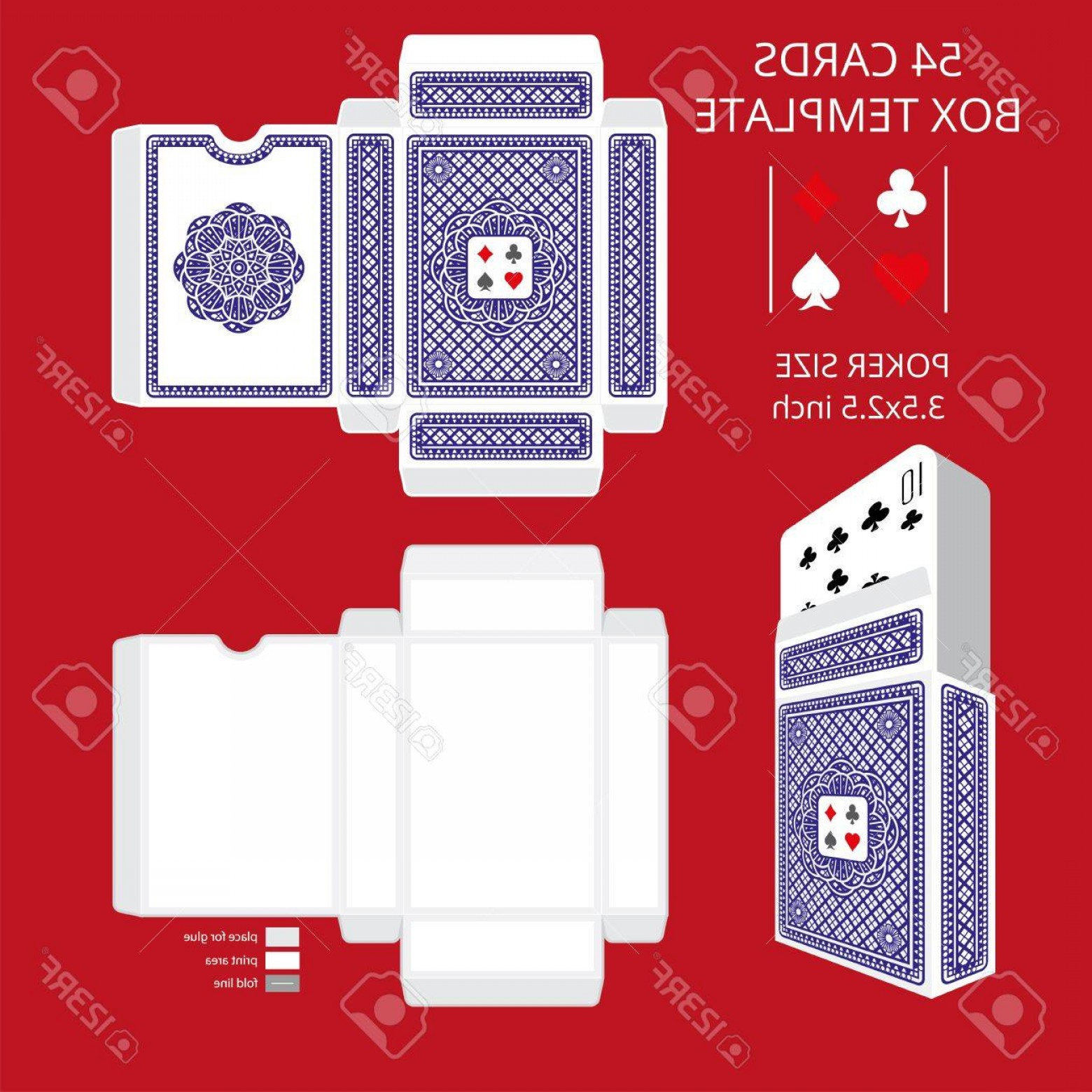 Playing Card Design Vector Illustration: Photostock Vector Poker Card Size Tuck Box Template Vector Illustration Ready Design Boxes For The Game Deck And Three