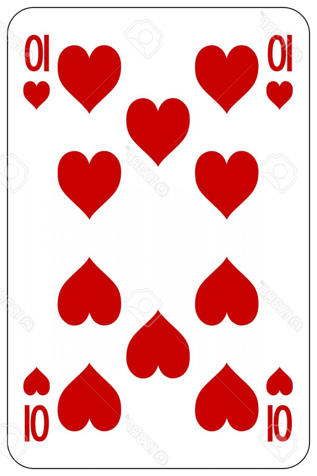 10 Playing Card Vector: Photostock Vector Poker Playing Card Heart